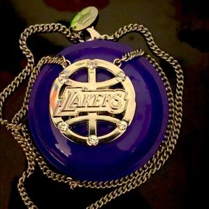 Lakers pendant silver necklace Los Angeles Lakers